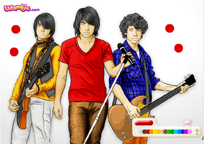 if you like coloring pages you are sure to love this jonas brothers color up game use your mouse to choose the colors of your choice and click on various