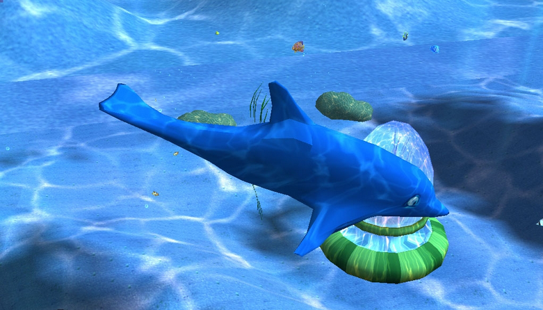 A dolphin under the sea in Deep Sea Tycoon game.