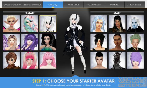 Create an avatar using one of many default options.: virtualworldsforteens.com/review/imvu