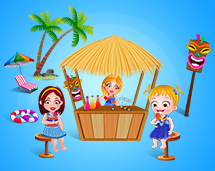 Hazel and cousins are sipping their refreshing drinks by the tiki hut.