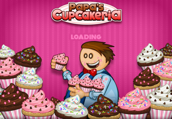 Papa is surrounded with cupcakes.