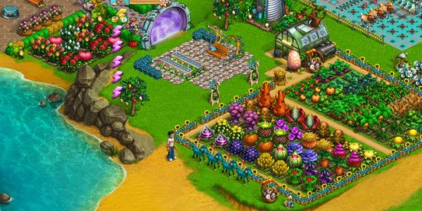 Shows the garden with weird plants in Astro Graden.