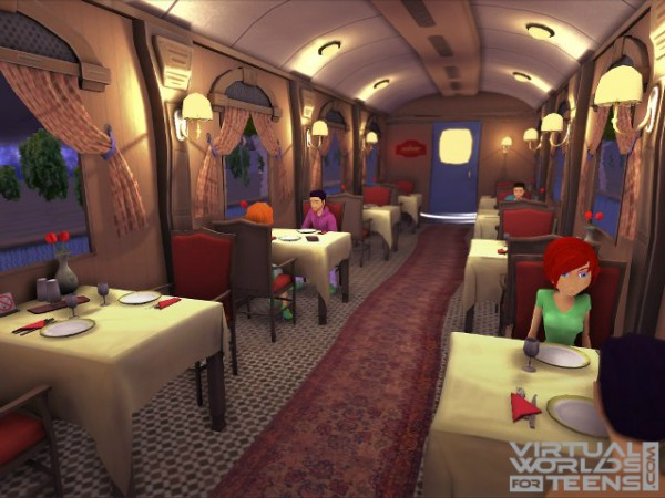 People dining in a bus-like interior of a restaurant.