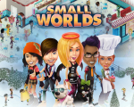 SmallWorlds characters with a background of SmallWorld's ice cream parlor and snow-covered Town Center.