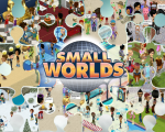 Screenshots of SmallWorlds in a puzzle-collage form.