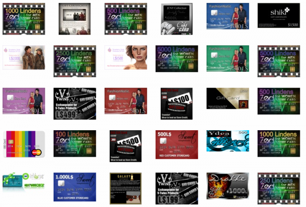 Second Life Marketplace - Gift Cards & Vouchers