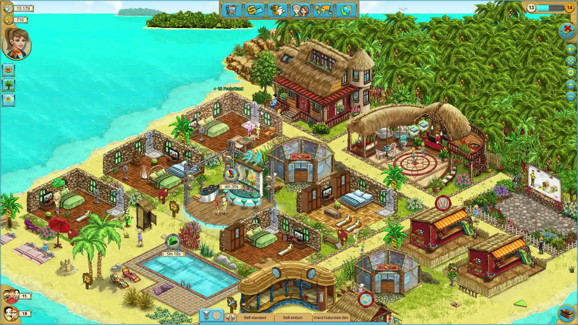 Beach resort in an island with swimming pool, cottages, hotels and other buildings.
