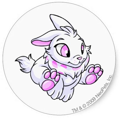 Neopets Cybunny White Round Sticker