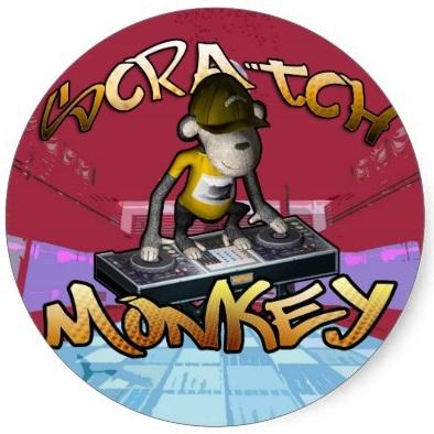 Onverse Scratch Monkey Round Sticker