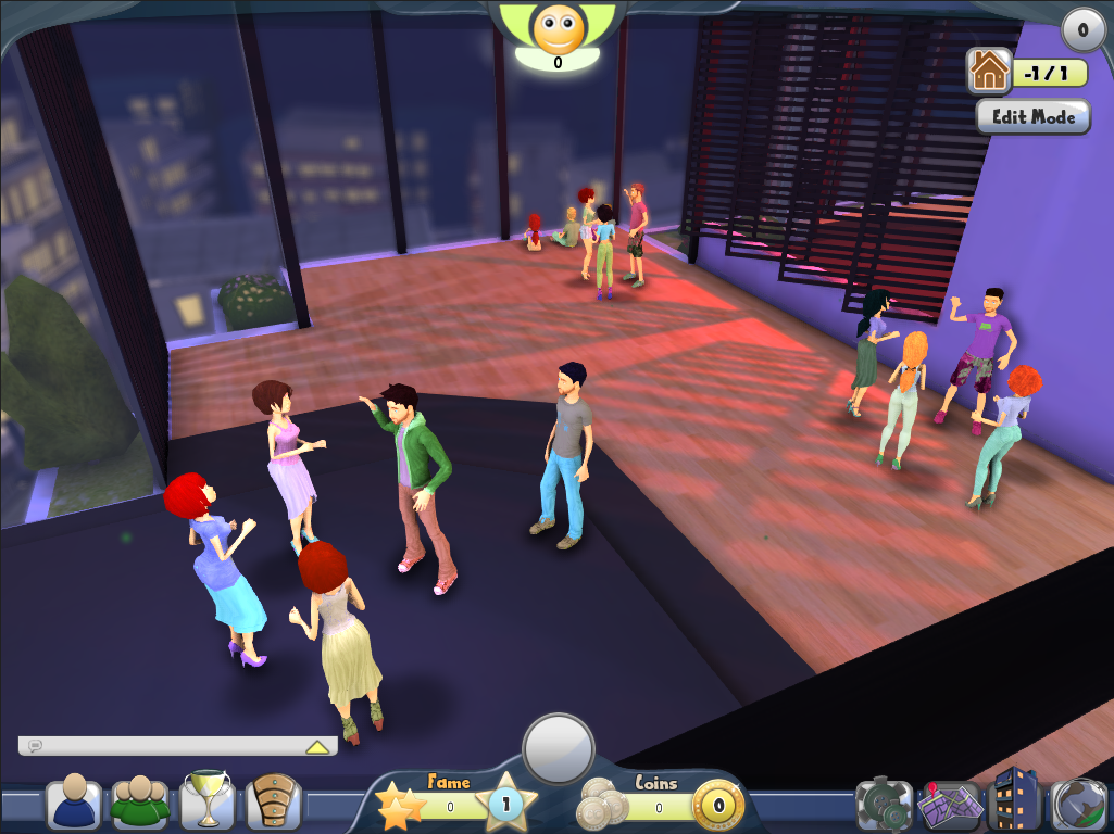 A group of players socializing in a room.